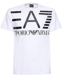 EA7 ロゴプリント コットンジャージーtシャツ - ホワイト