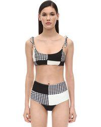 Paper London Sunshine Patchwork Bikini Top - Black