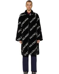 Balenciaga Oversized Faux Fur Car Coat - Black