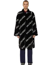 Balenciaga Abrigo Oversize De Pelo Sintético - Negro