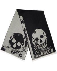Alexander McQueen Punk Skull オーバーサイズウールストール - ブラック