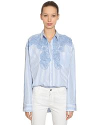 Ermanno Scervino - Oversized Striped Cotton Shirt W/ Lace - Lyst