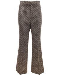 Gucci Logo Jacquard Wool Wide Leg Trousers - Multicolour
