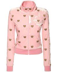 Moschino Sweatshirt Aus Stretch-samt Mit Teddy-druck - Pink