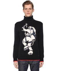 DSquared² インターシャ編み ウールブレンド セーター - ブラック