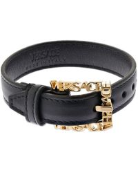 Versace レザーベルトブレスレット - ブラック