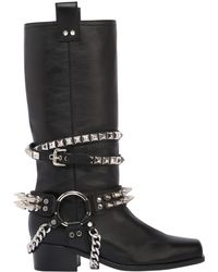 Moschino - 40mm Studded Leather Boots - Lyst