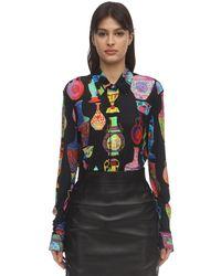 Versace ビスコースジャージーシャツ - ブラック