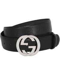 Gucci Gürtel aus GG Supreme mit GG Schnalle - Schwarz