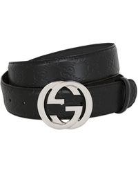 "Gucci - Ceinture En Cuir Estampé Logo ""Gg"" 40 Mm - Lyst"