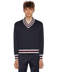 Thom Browne - Over Knit V Neck Cotton Chunky Jumper - Lyst