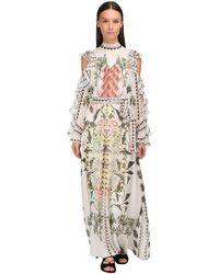 Temperley London Robe Longue En Mousseline Imprimée - Blanc