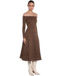 Fendi - Off The Shoulder Printed Jersey Dress - Lyst