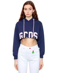 Gcds コットン フード付きクロップドスウェットシャツ - ブルー