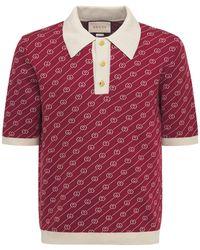 Gucci Polohemd Aus Seidenjacquard - Rot
