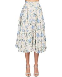 Luisa Beccaria Floral Embroidered Cotton Midi Skirt - Синий