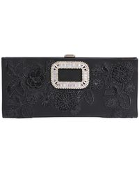 Roger Vivier - Pilgrim Embroidered Leather Clutch - Lyst
