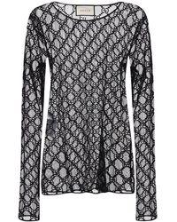 Gucci Блуза Из Тюля С Вышивкой - Черный