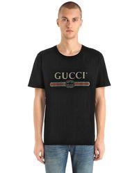Gucci - Logo Printed Cotton Jersey T-shirt - Lyst
