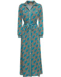 Gucci ラメジャガードロングドレス - ブルー