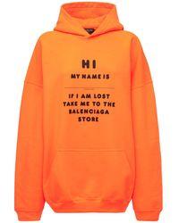 Balenciaga Hoodie Aus Fleece Mit Logo - Orange