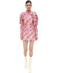 ROTATE BIRGER CHRISTENSEN Button-detailed Ruched Floral-jacquard Mini Dress - Pink