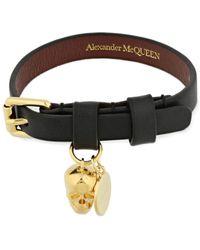 Alexander McQueen Skull チャームレザーブレスレット - ブラック