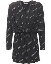 Balenciaga ジャージーラップミニドレス - ブラック