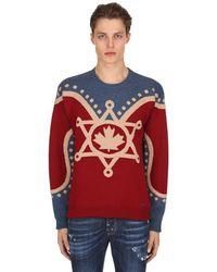 DSquared² Свитер Вязки Интарсия С Канадской Символикой - Красный