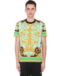 """Versace T-Shirt En Jersey De Coton """"Heritage"""" - Vert"""