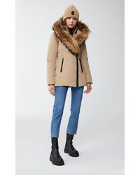 Mackage Adali Down Coat With Signature Natural Fur Collar In Camel - Women - L