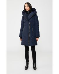 Mackage Kay Down Coat With Signature Collar In Navy - Women - L - Blue