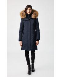 Mackage Manteau De Duvet À Fourrure Naturelle Amovible en Marin - Bleu