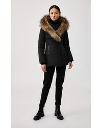 Mackage Akiva Down Coat With Signature Fur Trimmed Collar & Hood In Black - Women