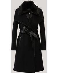 Mackage Manteau en Laine Ceinturé 2 en 1 Ajusté avec Plastron en Peau De Mouton en Noir