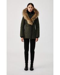 Mackage Adali Down Coat With Signature Natural Fur Collar In Army - Women - Multicolour