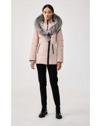Mackage Adali Down Coat With Signature Silverfox Fur Collar In Petal - Multicolour
