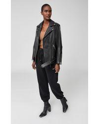 Mackage Jayda Oversized Belted Leather Biker Jacket In Black
