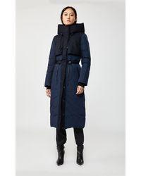 Mackage Manteau De Duvet Long avec Col Rembourré en Marin - Bleu