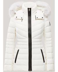 Mackage Manteau en Duvet Léger et Extensible À Fourrure De Renard Argenté Amovible en Blanc Cassé