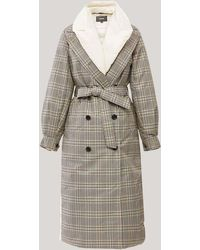 Mackage Sage 2-in-1 Mixed Media Trench Coat With Bib In Plaid - Multicolour