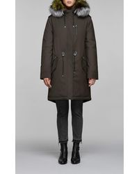 Mackage Rena-dx Down Filled Twill Parka With Fur-lined Hood In Army - Women - Black