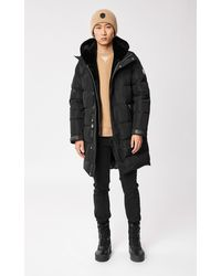 Mackage Manteau en Duvet Classique avec Plastron et Capuche en Peau De Mouton Amovible en Noir