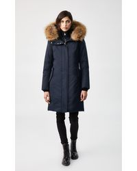 Mackage Harlowe Down Coat With Removable Natural Fur In Navy - Women - Blue