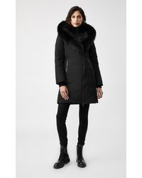 Mackage Kay Down Coat With Signature Silverfox Fur Collar In Black/black - Women