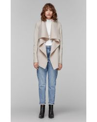 Mackage - Vane Luxe Wool Jacket With Waterfall Collar In Sand - L - Lyst