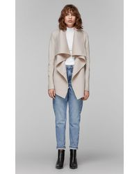 Mackage Vane Luxe Wool Jacket With Waterfall Collar In Sand - Women - Natural