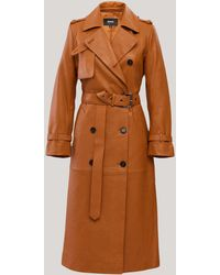 Mackage Gael Long Leather Trench Coat With Belt In Cognac - Women - Brown