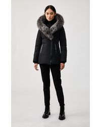 Mackage Adali Down Coat With Signature Silverfox Fur Collar In Black/silver