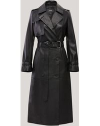 Mackage Gael Long Leather Trench Coat With Belt In Black - Women